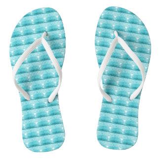 Aqua and white flip flops