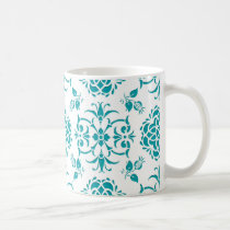 Aqua and White Floral Damask Pattern Coffee Mug
