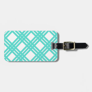Aqua and White Gingham Bag Tag