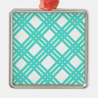 Aqua and White Gingham Silver-Colored Square Ornament