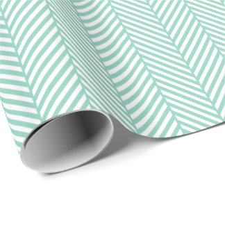 Aqua and White Herringbone Gift Wrapping Paper