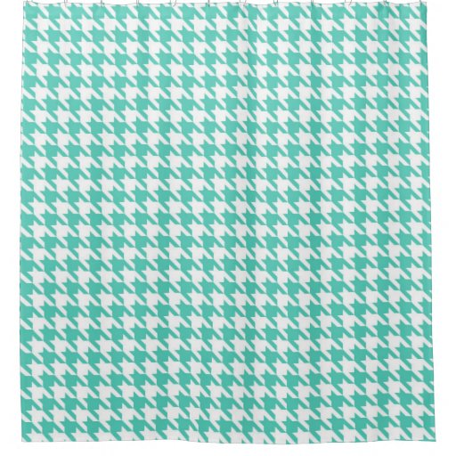 Aqua And White Houndstooth Pattern Shower Curtain Zazzle