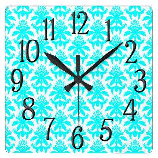 Aqua and White Jacquard Brocade Patterned Square Wall Clock