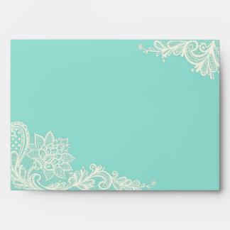 Aqua and White Lace Wedding Envelopes