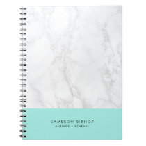 Aqua and White Marble | Modern Personalized Notebook