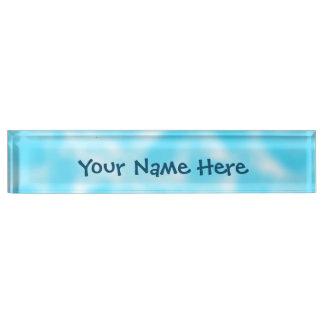 Aqua and White Mottled Name Plate