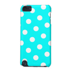 Aqua And White Polka Dot Pattern Ipod Touch 5g Cover at Zazzle