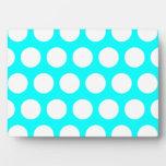 Aqua and White Polka Dots Display Plaques