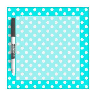 Aqua and White Polka Dots Dry Erase Board