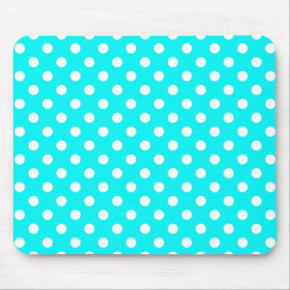 Aqua and White Polka Dots Mouse Pad
