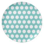 Aqua and White Polka Dots Pattern Dinner Plate