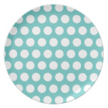 Aqua and White Polka Dots Pattern Plate