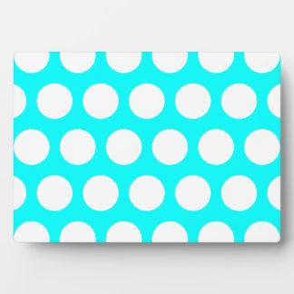 Aqua and White Polka Dots Plaque