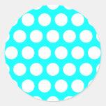 Aqua and White Polka Dots Sticker