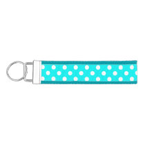 Aqua and White Polka Dots Wrist Keychain