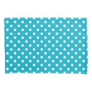 Aqua and white polkadots pillowcase cover sleeve