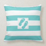 Aqua and White Pool side Stripe with Flipflops Throw Pillows