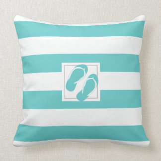 Aqua and White Pool side Stripe with Flipflops Throw Pillow