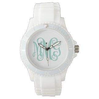 Aqua and White Preppy Script Monogram Watch
