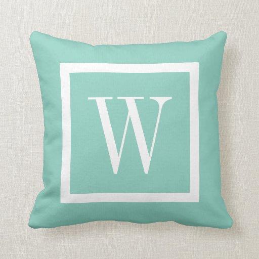 White Square Throw Pillows : Aqua and White Preppy Square Monogram Throw Pillow Zazzle