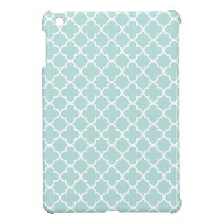 Aqua and White Quatrefoil Patterns iPad Mini Covers