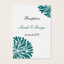 aqua and white Reception   Cards