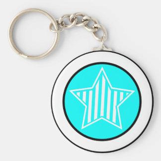 Aqua and White Star Keychain