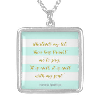 """Aqua and White Striped """"It is Well With My Soul"""" Silver Plated Necklace"""