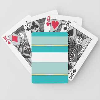 Aqua and White Stripes with Gold Bands Bicycle Playing Cards