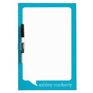 Aqua and White Talk Bubble Personalized Name Dry-Erase Board