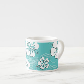 Aqua and White Tropical Hibiscus Espresso Cup