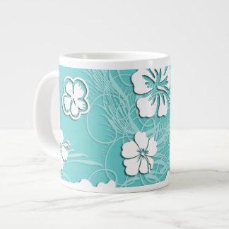 Aqua and White Tropical Hibiscus Large Coffee Mug