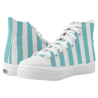 Aqua and White Vertical Striped High-Top Sneakers