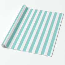 Aqua and White XL Stripe Pattern H Wrapping Paper
