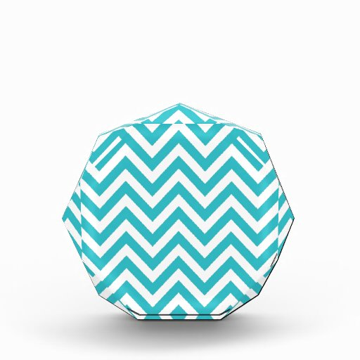 Aqua and White Zigzag Pattern Chevron Award