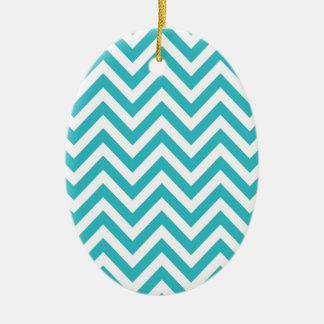 Aqua and White Zigzag Pattern Chevron Ceramic Ornament
