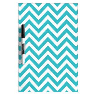 Aqua and White Zigzag Pattern Chevron Dry Erase Board