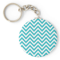 Aqua and White Zigzag Pattern Chevron Keychain