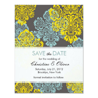 Aqua and Yellow Damask Save the Date Card