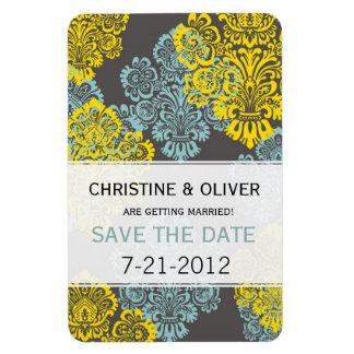Aqua and Yellow Damask Wedding Magnet