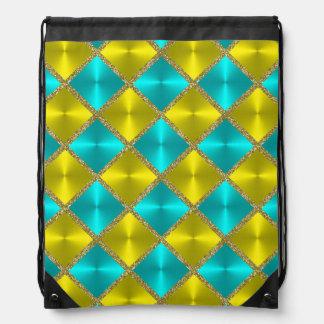 Aqua and Yellow Metallic Looking Squares Drawstring Backpack