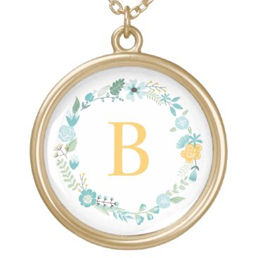 heartlocked Aqua and Yellow Monogrammed Floral Wreath Gold Plated Necklace