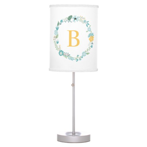 Aqua and Yellow Monogrammed Floral Wreath Table Lamp