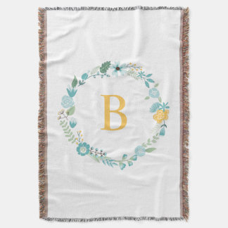 Aqua and Yellow Monogrammed Floral Wreath Throw