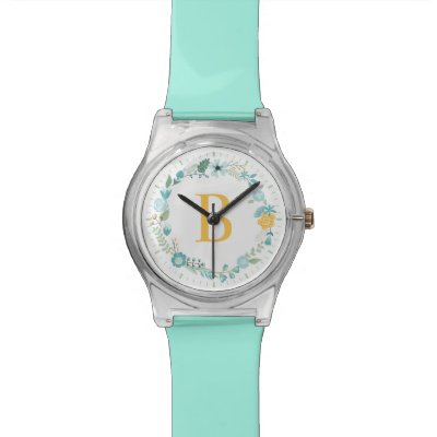 Aqua and Yellow Monogrammed Floral Wreath Wrist Watch