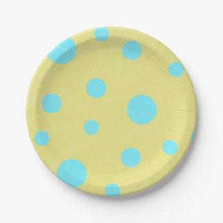 Aqua and Yellow Polka Dots Paper Plate
