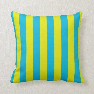 Aqua and Yellow Stripes Throw Pillow