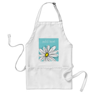 Aqua and Yellow Whimsical Daisy Custom Text Adult Apron