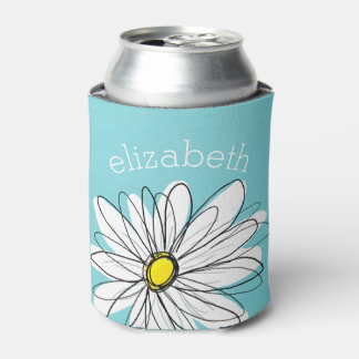 Aqua and Yellow Whimsical Daisy Custom Text Can Cooler