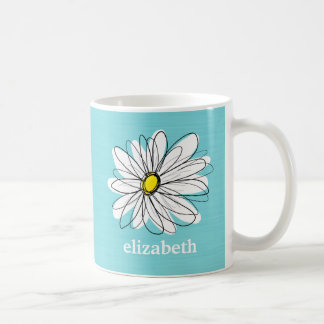 Aqua and Yellow Whimsical Daisy Custom Text Coffee Mug